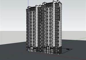 中式獨特高層居住詳細建筑樓SU(草圖大師)模型