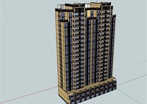 高層商業居住詳細建筑樓SU(草圖大師)模型