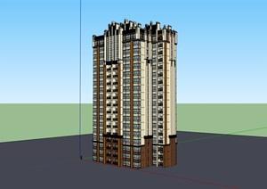 高層精致居住詳細建筑樓SU(草圖大師)模型