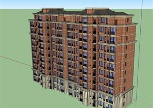 高层独特居住详细建筑楼SU(草图大师)模型