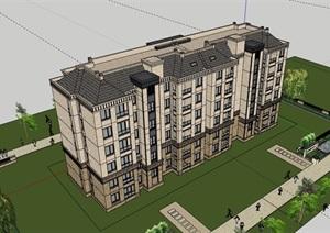 完整的居住詳細建筑樓SU(草圖大師)模型