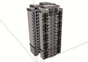 高层居住详细建筑楼SU(草图大师)模型