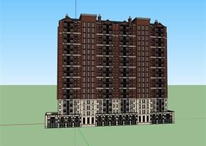 高層歐式小區居住詳細建筑樓SU(草圖大師)模型
