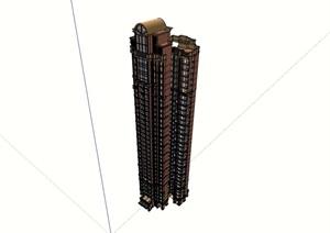 小區高層歐式居住詳細建筑樓SU(草圖大師)模型