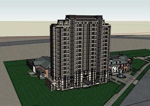 高層現代居住詳細建筑樓SU(草圖大師)模型