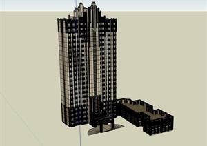 现代完整居住详细建筑楼SU(草图大师)模型