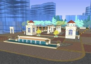 现代居住区景观设计方案SU(草图大师)模型