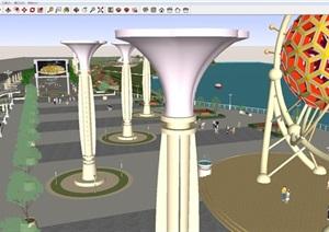 隽水公园景观设计方案SU(草图大师)模型