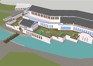 新中式科技馆建筑设计方案SU(草图大师)模型