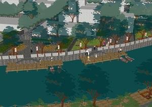 城市河道升级改造景观设计方案SU(草图大师)模型