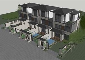 新亚洲风格联排别墅建筑设计方案SU(草图大师)模型
