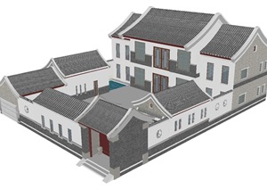 歇山顶民居别墅建筑设计方案SU(草图大师)模型