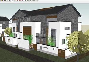 新中式类独栋别墅建筑设计方案SU(草图大师)模型