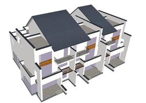 新中式联排别墅建筑设计方案SU(草图大师)模型