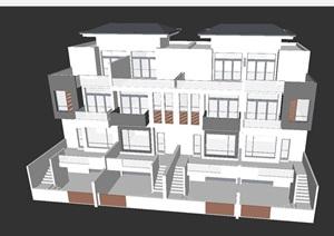 180平户型联排别墅建筑设计方案SU(草图大师)模型