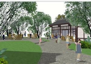 古塔公园建筑与景观设计方案SU(草图大师)模型
