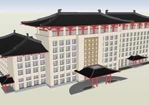 唐风酒店建筑设计方案SU(草图大师)模型