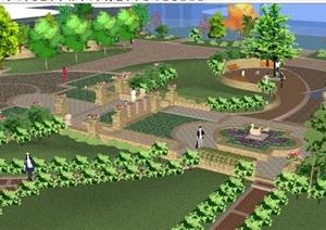 欧式住宅庭院花园建筑设计方案SU(草图大师)模型