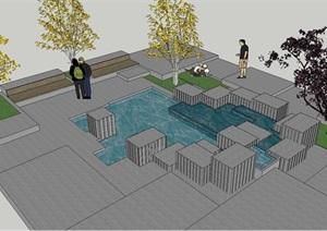 2个水景小节点设计方案SU(草图大师)模型