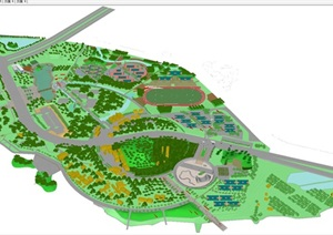 现代城市体育公园完整景观规划设计方案SU(草图大师)模型