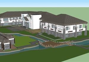 一个中式会所建筑设计方案SU(草图大师)模型