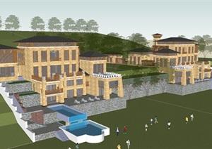 东南亚风格山坡豪宅度假别墅建筑设计方案SU(草图大师)模型
