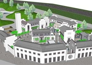 新中式望京会所建筑设计方案SU(草图大师)模型