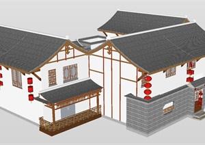 滇南地区四合院民居建筑设计方案SU(草图大师)模型