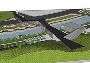 现代蛇线形景观桥设计方案SU(草图大师)模型