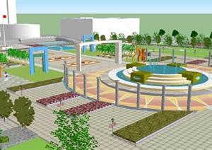 市民广场景观设计方案SU(草图大师)模型