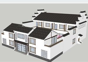 中式农家乐民居建筑改造方案SU(草图大师)模型