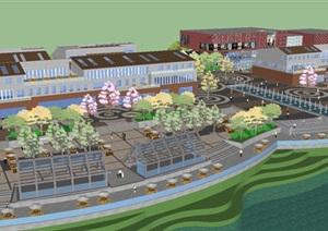 现代商业购物广场建筑与景观设计方案SU(草图大师)模型