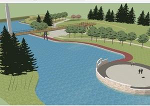 河道景观改造设计方案SU(草图大师)模型