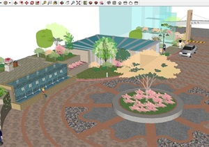小区入口广场景观设计方案SU(草图大师)模型