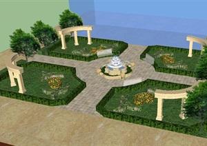 欧式小广场景观设计方案SU(草图大师)模型