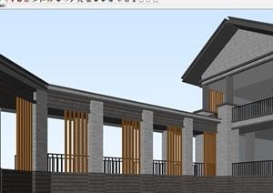 中式青砖会所建筑设计方案SU(草图大师)模型