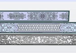 3個子母草拐紋墊板彩畫設計方案SU(草圖大師)模型
