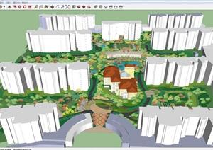 欧式住宅小区景观设计方案SU(草图大师)模型
