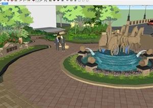 翡翠半岛小区入口景观设计方案SU(草图大师)模型