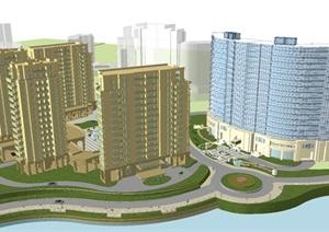 现代风格酒店与住宅小区建筑设计方案SU(草图大师)模型