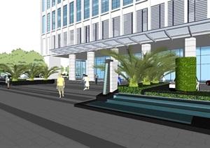 承业大厦高档办公楼建筑与景观设计方案SU(草图大师)模型