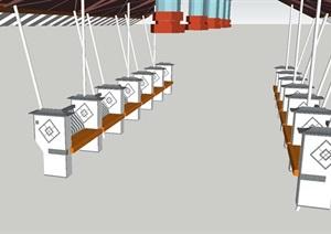 现代中式廊架景观设计方案SU(草图大师)模型