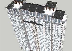 4个中式高层住宅单体建筑设计方案SU(草图大师)模型