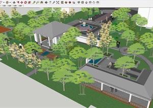 中式景观小广场建筑设计方案SU(草图大师)模型