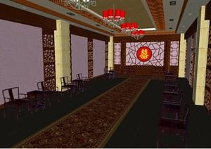 中式婚礼礼堂室内设计方案SU(草图大师)模型