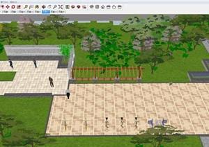 一个中式小区景观设计方案SU(草图大师)模型