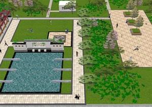 一个中式小区宅间景观设计方案SU(草图大师)模型