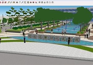 一个医院前景观广场设计方案SU(草图大师)模型