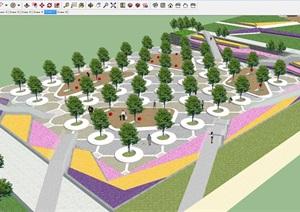宜居公园城带状公园设计方案SU(草图大师)模型