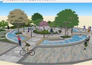 新中式圆形小广场景观设计方案SU(草图大师)模型